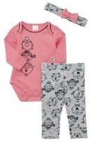 Character Little Miss Long Sleeve Bodysuit, Leggings and Headband Set, Newborn Girl's