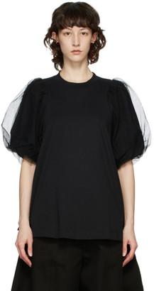 Simone Rocha Black Tulle Sleeve T-Shirt