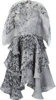 Christian Siriano marbled ruffled dress