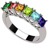 Nana Asscher Cut Lucita Style 1 to 7 Simulated Birthstones - Mother's Birthstone Ring -14k White Gold-Size 7.5