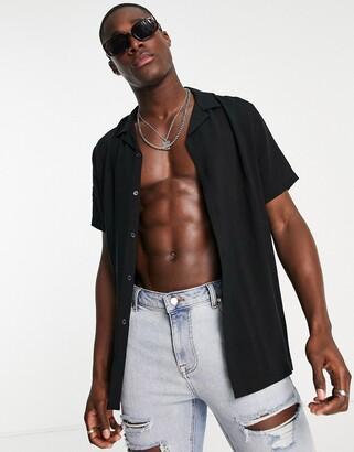 ASOS DESIGN regular fit viscose shirt with revere collar in black
