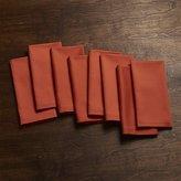 Crate & Barrel Fete Orange Cloth Dinner Napkins, Set of 8