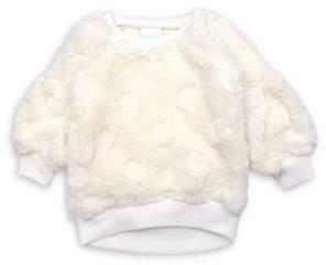 Nannette Little Girl's Faux Fur Drop-Shoulder Dot Top