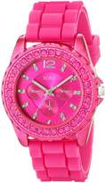 XOXO Women's XO8042 Rhinestone Accent Fuschia Silicone Strap Watch