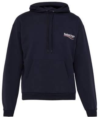 Balenciaga Logo Print Cotton Hooded Sweatshirt - Mens - Navy