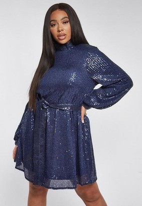 Missguided Plus Size Navy Sequin High Neck Balloon Sleeve Mini Dress