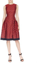 Carmen Marc Valvo Dropped Waist Sleeveless Polka Sheath Dress