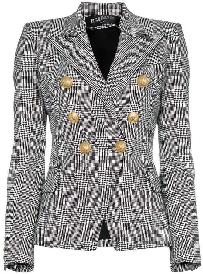 Balmain double breasted tweed cotton blend blazer
