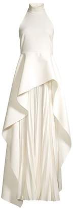 SOLACE London Lavina Layered High-Low Pleated Chiffon Maxi Dress