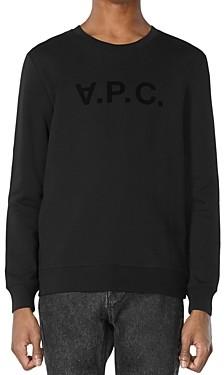 A.P.C. Flocked Velvet Logo Sweatshirt