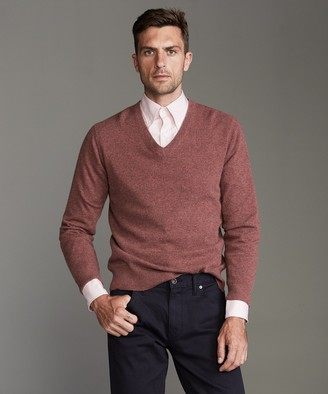 Todd Snyder Cashmere V-neck Sweater in Burnt Rose