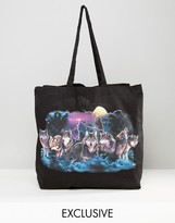 Reclaimed Vintage Inspired Tote Bag In Black With Wolf Print