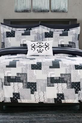 Twin Dei Reversible Bohemian Bed in a Bag Comforter Set - Black