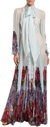 Valentino Ruffled Silk Tie-Neck Blouse