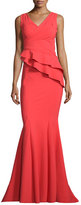 La Petite Robe di Chiara Boni Farida Sleeveless Asymmetric Ruffle Mermaid Gown, Tomato