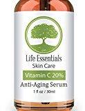Vitamin C Serum for Face 20% - Hyaluronic Acid - Anti Wrinkle - Anti Aging Serum - Fades Dark Spots - Repairs Skin - Organic Ingredients