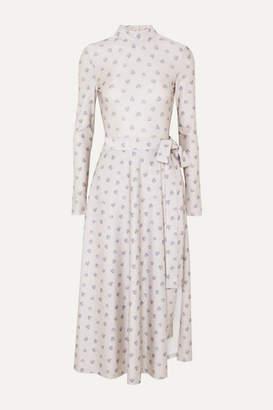 Rotate by Birger Christensen Open-back Layered Floral-print Stretch-jersey Bodysuit - Cream