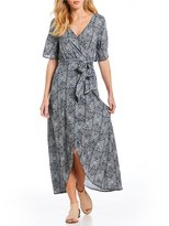Roxy Keep The Tempo Printed Kimono Sleeve Wrap Maxi Dress