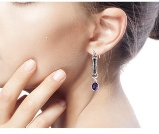Novica Handmade Sterling Silver 'Bali Birthright' Amethyst Earrings