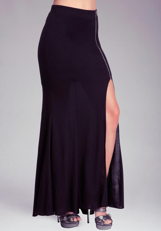 Bebe Zipper Slit Maxi Skirt