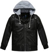 Budermmy Boys Removable Hood Faux Leather Jacket Outdoor Winter Coat Size 8