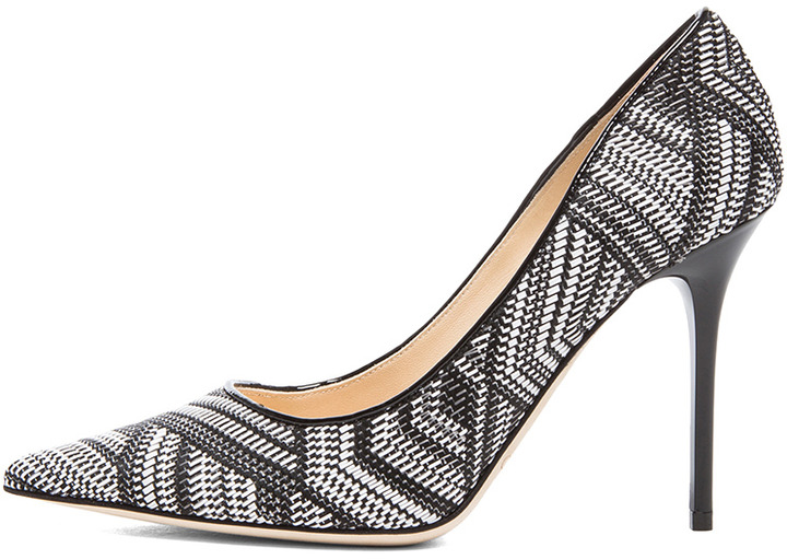 Jimmy Choo Abel Pointed Woven Fabric Pumps in Black & White