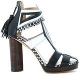 Susana Traça Heeled Sandal In Black And White Leather