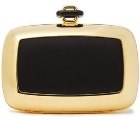 Roger Vivier Satin-paneled Silver-tone Box Clutch