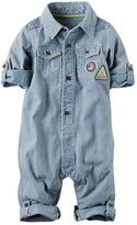 Carter's Baby Boy Road Trip Patch Chambray Jumpsuit
