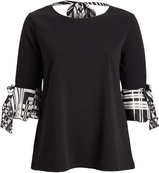 Seven Karat Women's Blouses black - Black Geometric Tie-Back Bell Sleeve Top - Plus
