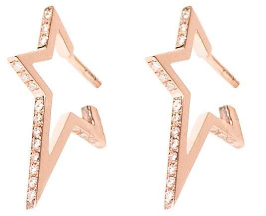Diane Kordas Star Diamond Rose Gold Hoop Earrings
