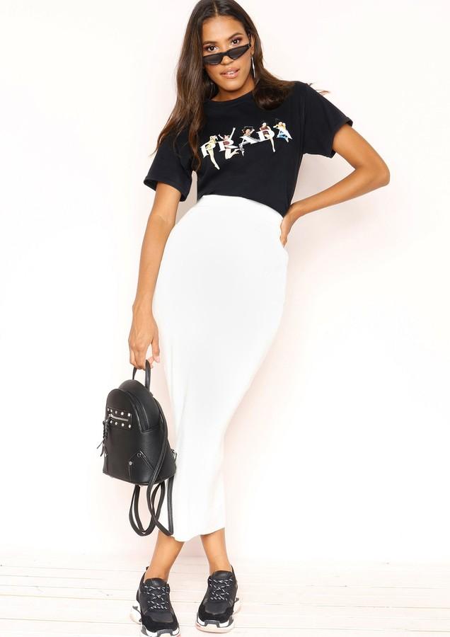 25907524817b Cream Knit Skirt - ShopStyle UK