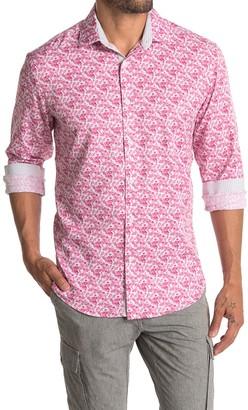 Tallia Pink Floral 4 Way Stretch Dress Shirt