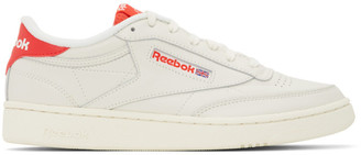 Reebok Classics Off-White and Red Club C 85 Sneakers