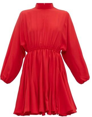 Rhode Resort Caroline Godet-insert Crepe Mini Dress - Womens - Red