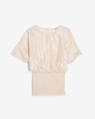 Express Smocked Banded Bottom Cinched Crew Neck Top