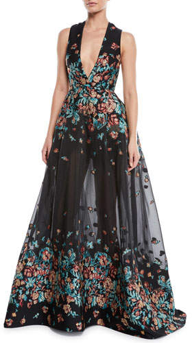 Elie Saab Deep-V Sleeveless Floral-Jacquard Fil Coupe Evening Gown