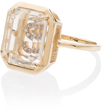 Mateo 14kt gold S diamond initial ring