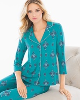 Soma Intimates Notch Collar 3/4 Sleeve Pajama Top Peaceful Pagoda