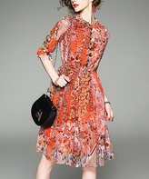 Orange Abstract Button-Front Three-Quarter Sleeve Dress