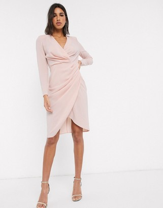 ASOS DESIGN long sleeve pleat front wrap midi dress in blush