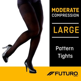 Futuro Pattern Tights, Unisex, Large, Moderate Compression, Black