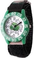 Marvel Emoji Kids' Hulk Fist Green Plastic Time Teacher Watch, Camo Hook and Loop Nylon Strap