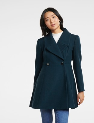 Forever New Hannah Petite Fit and Flare Coat - Teal - 4
