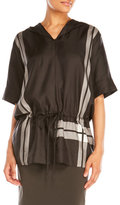 DKNY Half-Sleeve Silk Hoodie Shirt