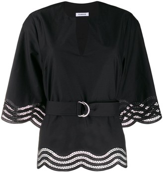 P.A.R.O.S.H. Embroidered Wavy Hem Blouse
