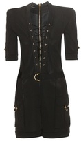 Balmain Knitted lace-up playsuit