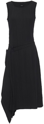 GOEN.J Asymmetric Draped Plisse-twill Midi Dress