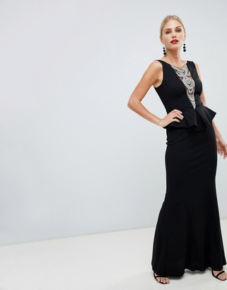 City Goddess structured peplum maxi dress with embellished detail-Black