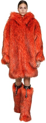 Byblos Long Hooded Faux Fur Coat